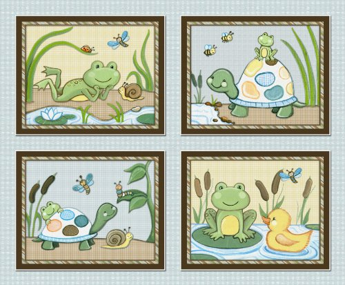 Blue Frog Bedding - Pond Friends Wiggle Bugs Nursery Art Prints (8x10