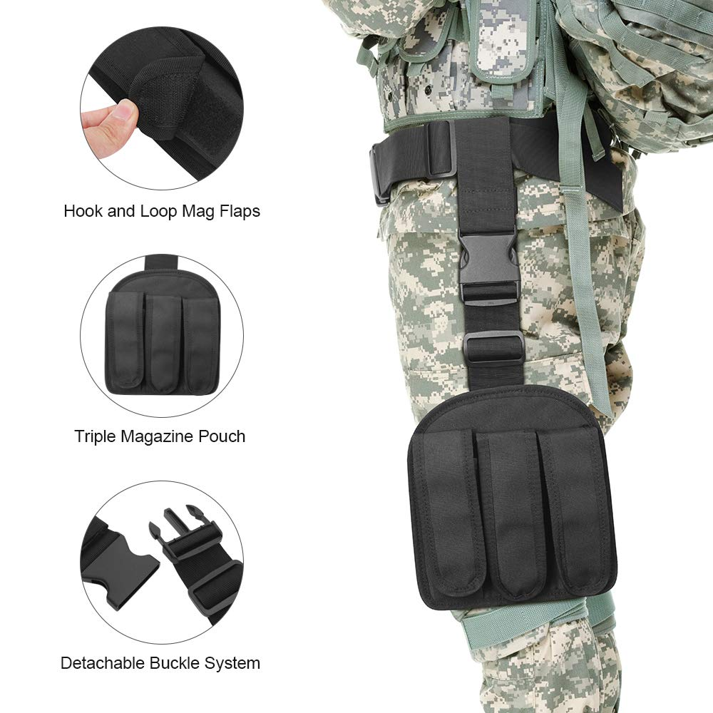 DONGKER Drop Leg Gun Holsters Adjustable Tactical Airsoft Thigh Holster, 3 pc Molle Gun Holster with 3 Magazine Pouches Universal Dual Thigh Pistol Leg Holster for Left/Right Handed Detachable