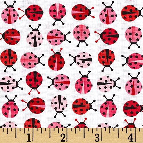 Robert Kaufman Kaufman Urban Zoologie Mini Ladybugs Pink Fabric By The Yard