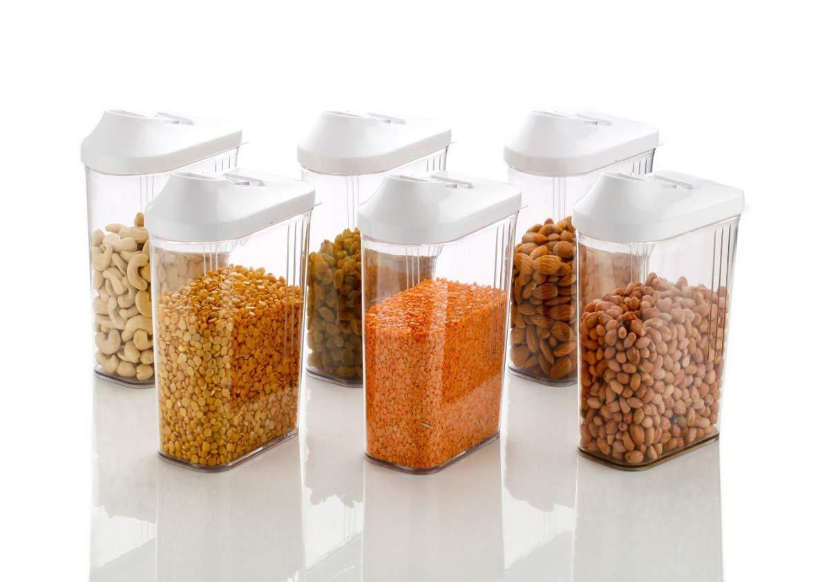 Machak Easy Flow Plastic Kitchen Storage Jars & Container Set, Transparent (6, 1500)