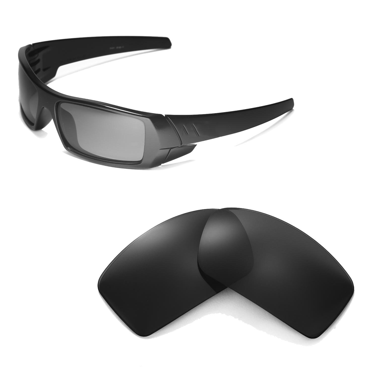 Walleva Replacement Lenses for Oakley Gascan Sunglasses - Multiple Options Available (Black - Polarized) by Walleva