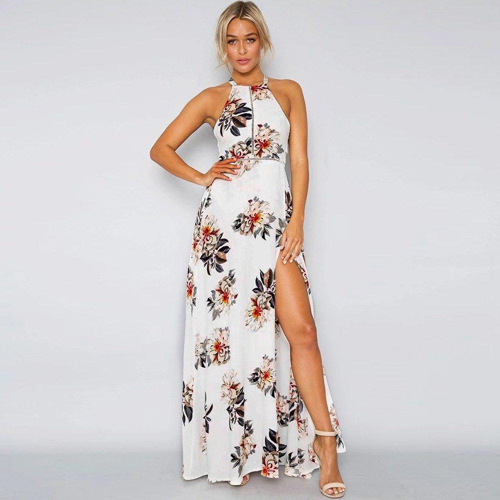6f1d69e12e1 Amazon.com  2019 Women s Boho Backless Floral Beach Dress Sexy Split Maxi  Dress by CieKen  Clothing