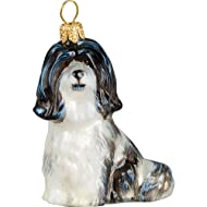 Havanese Black and White Sitting Dog Polish Glass Christmas Ornament Decoration