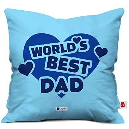 Indigifts Father Birthday Gifts Worlds Best Dad Quote Heart Shape Blue Cushion Cover 12x12 Inches With