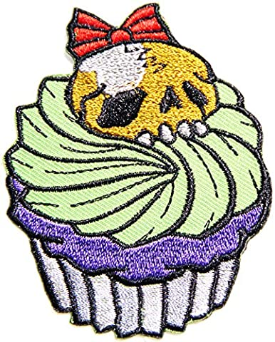 Sugar Skull Monster Cupcake Sweet Dessert Candy Maker Cooking Kid Baby Jacket T shirt Patch Sew Iron on Embroidered Applique Badge Custom Gift