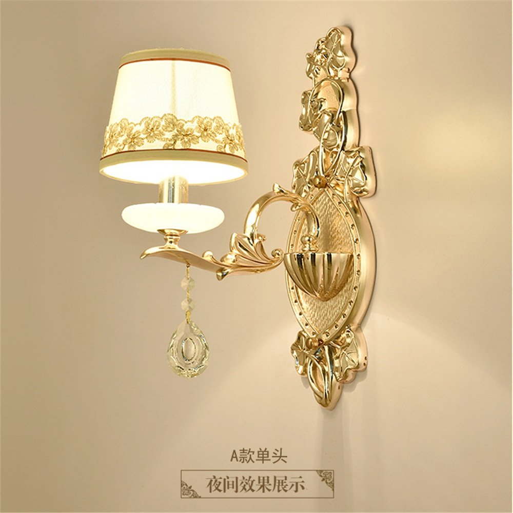 M-Maker Golden LED Luxury Bedroom Bedside Wall Light Simple European Living Room Aisle Hotel Project Wall Lamp Wall Lamp ( Color : B , Style : Sigle head )