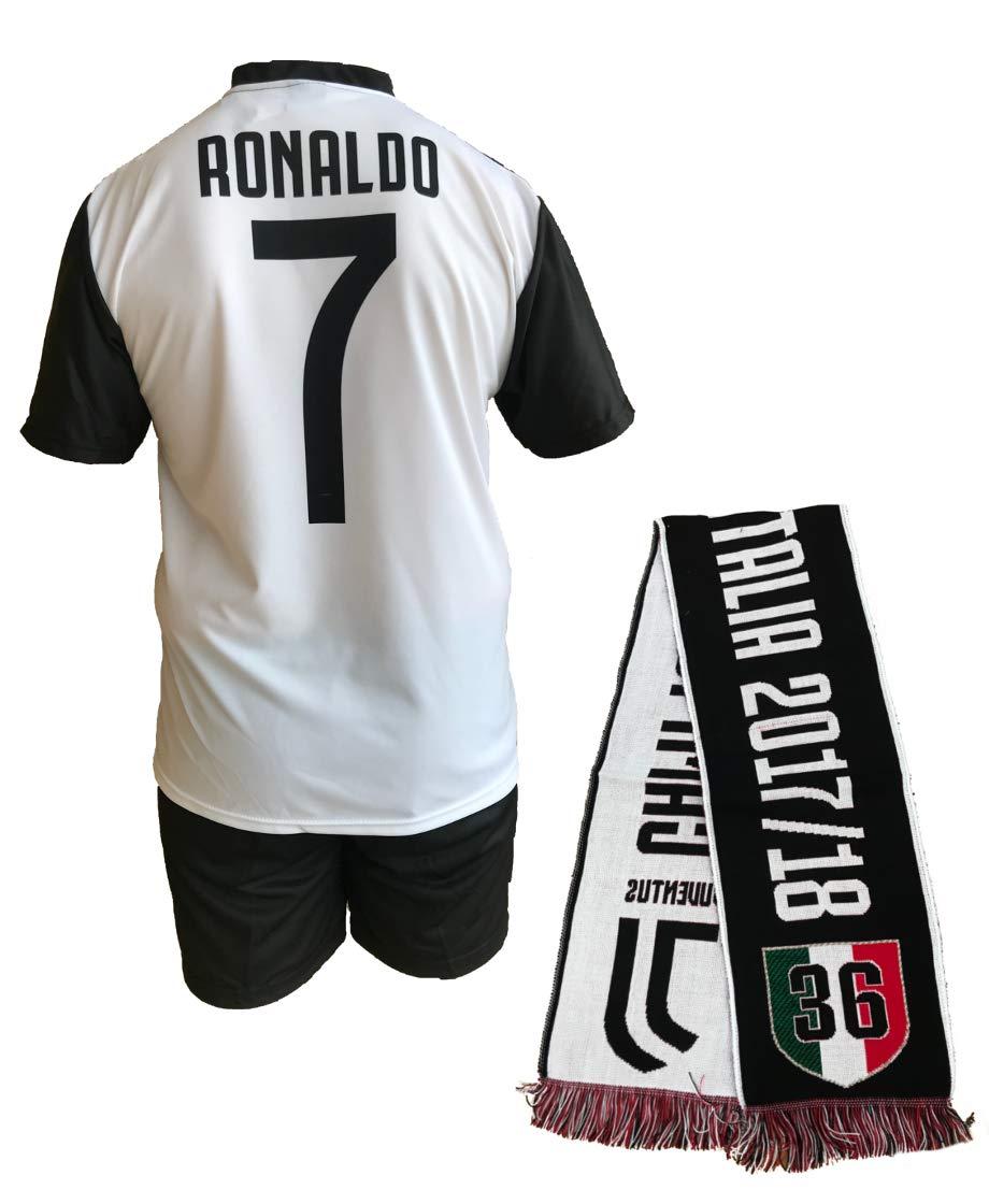 Completo Juventus Cristiano Ronaldo 7 Replica Autorizzata 2018-2019 Bambino (Taglie-Anni 2 4 6 8 10 12) Adulto (S M L XL) + Omaggio Sciarpa Jacquard Scudetto 36