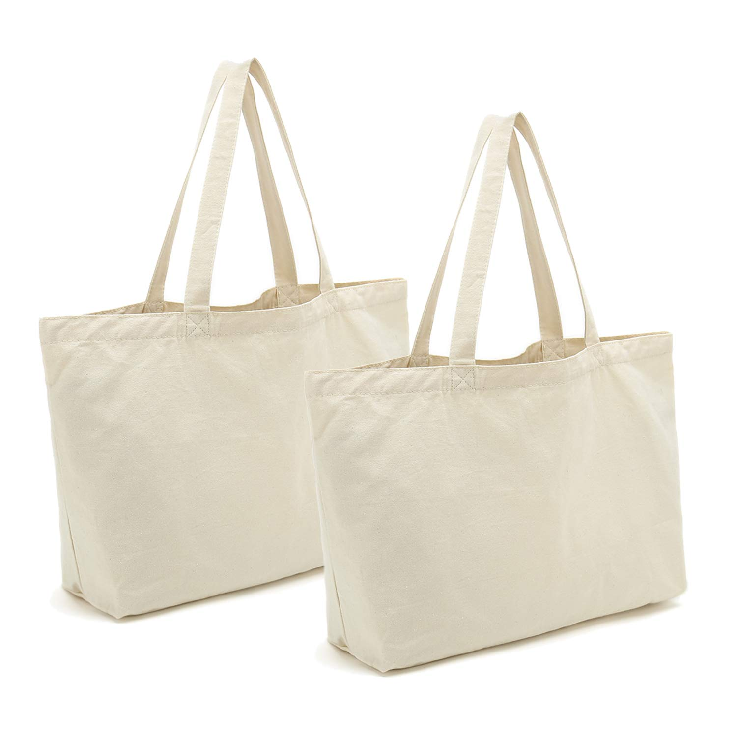 b6e2b5ee8 Amazon.com: Canvas Tote Bags Heavy Duty Reusable Cotton Grocery Shopping  Bags with Bottom Gusset for DIY Crafts Gift Bag Wedding 2pcs, 12.2
