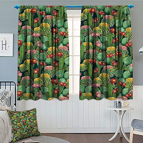 Nature Decor, Patterned Drape for Glass Door, Garden Flowers Cactus Texas Desert Botanic Various Plants with Spikes Pattern, Waterproof Window Curtain, 52x63 Inch Multicolor ()