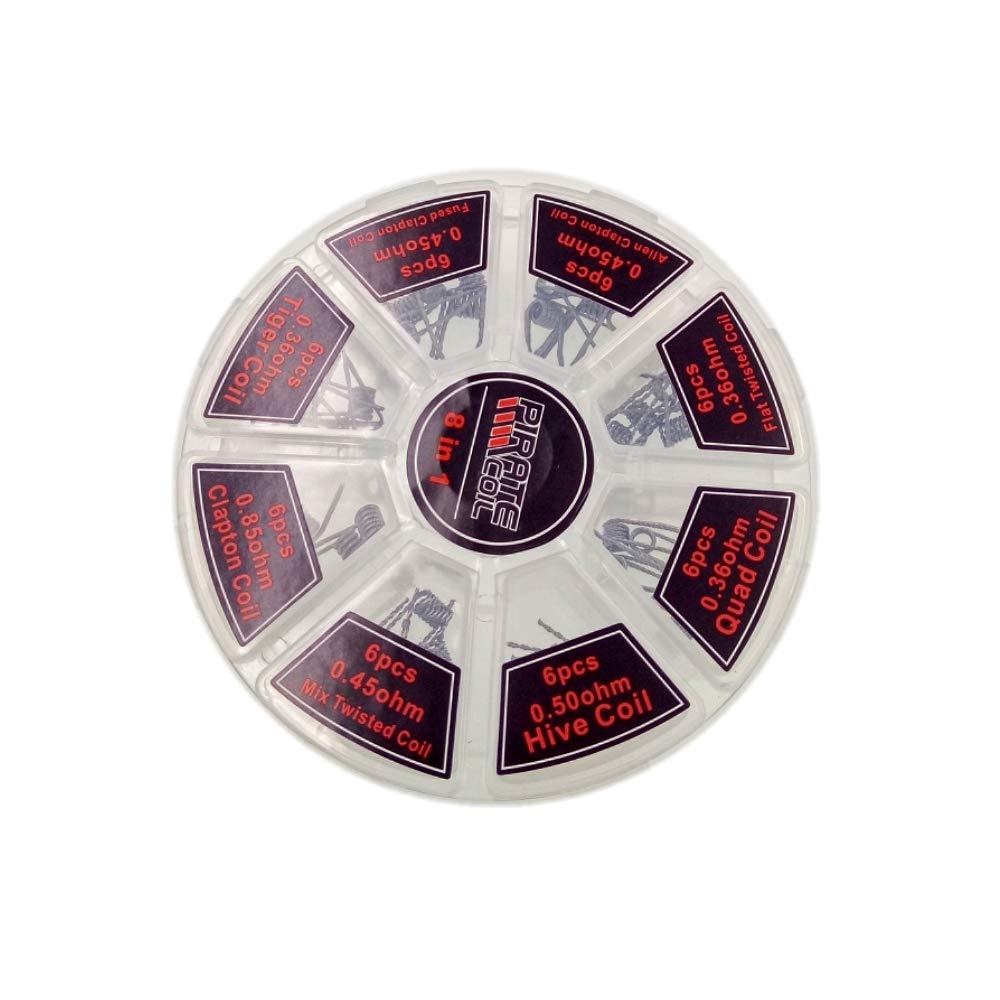 JZK 48 x Kit filo coil prefatte acciaio per RDA RBA RDTA sigaretta elettronica, 8 stili - Hive, Alien clapton, Fused clapton, Clapton, Flat Twisted, Tiger, Quad, Mix Twisted
