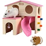 kathson Pet Small Animal Hideout Hamster House with Funny Climbing Ladder Slide Wooden Hut Play Toys Chews for Small…
