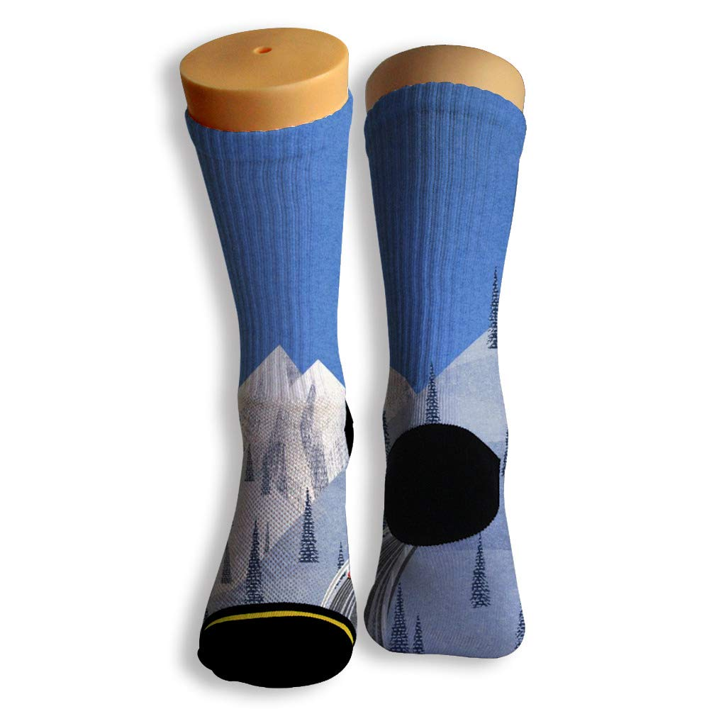 Basketball Soccer Baseball Socks by Potooy Snow Mountain Tunnel 3D Print Cushion Athletic Crew Socks for Men Women