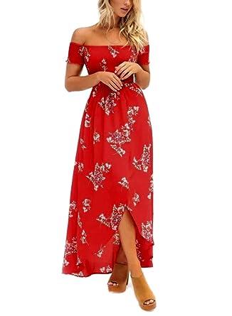 f263e0d0a6 Image Unavailable. Image not available for. Color: Women's Summer Boho Off  The Shoulder Long Maxi Casual Dresses Split Z88-C2843hongdi-S