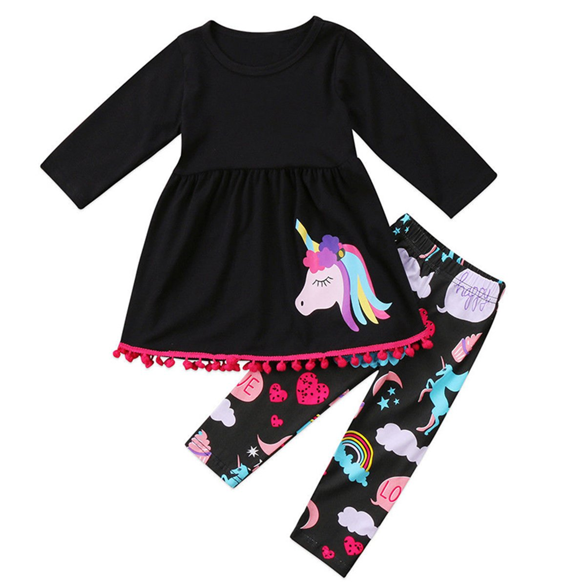 FUNOC Toddler Girls 2 Pc Unicorn Print Tunic Top Outfit Clothes, Baby T-Shirt Top Dress+Long Pants