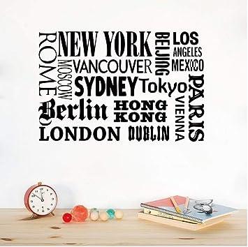 York London Paris Cita etiqueta de la pared Nombres de ciudades ...