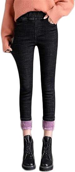 [セイーワイ] レディース 裏起毛 暖か ストレッチ スリム フィット デニム ジーンズ 伸縮 パンツ ハイウェスト 体型カバー 防寒 暖かい 無地