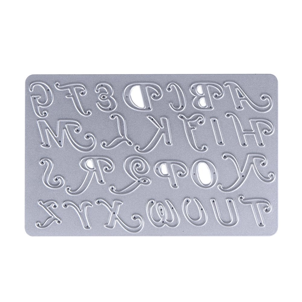 Demiawaking Number And Letter Styles Cutting Dies Stencil for DIY Scrapbooking Album Card Making Party Decor (01) UKPPLBDH1748