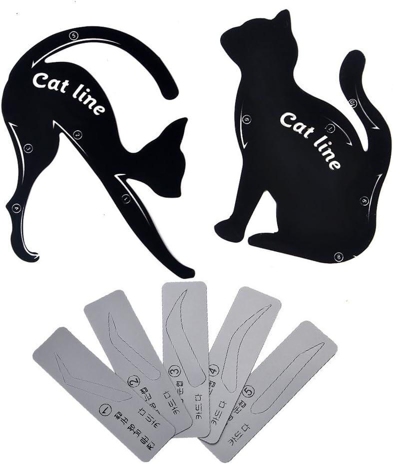 Plantilla para delineador de ojos, de Vanyda. Plantilla profesional multifunción en forma de gato (1 par) + plantilla para cejas (5 unidades): Amazon.es: Belleza