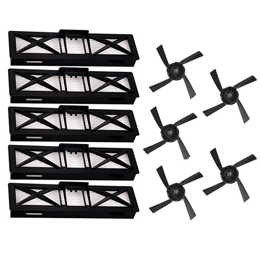 Kit de accesorios para Neato Botvac D80D85reemplazos para Neato Botvac serie D D7070E 758085incluye 5filtros y 5cepillos laterales de ultra-performance vacío partes