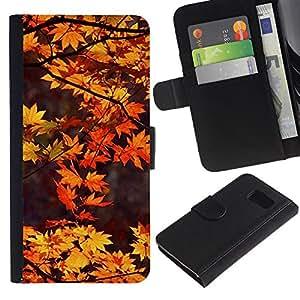 Paccase / Billetera de Cuero Caso del tirón Titular de la tarjeta Carcasa Funda para - Brown Leaves Red Tree Nature Autumn - Samsung Galaxy S6 SM-G920