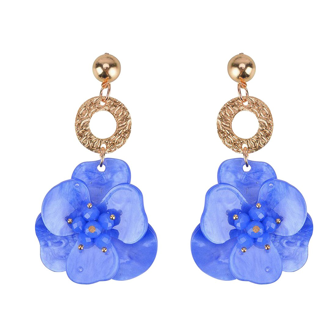 Olsen Twins Stylish Lucite Acrylic Clover Flower Drop Earrings, Summer Jewrlry (Blue)