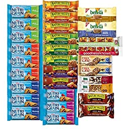 Healthy Snacks, Variety Pack, Breakfast Bars, Including Nature Valley, Belvita, Goodness Knows, Kashi, Nutri Grain and Fiber One