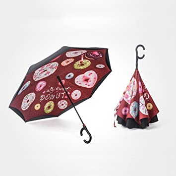 Paraguas reversible plegado reversible de la capa doble del revés con la manija de la forma