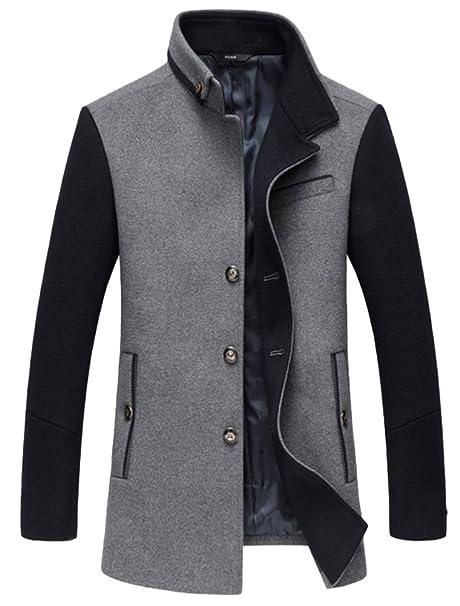 Vogstyle Manteau Homme Laine Hiver Chaud Court Trench-Coat éléGant Blouson 531aa3c4046c