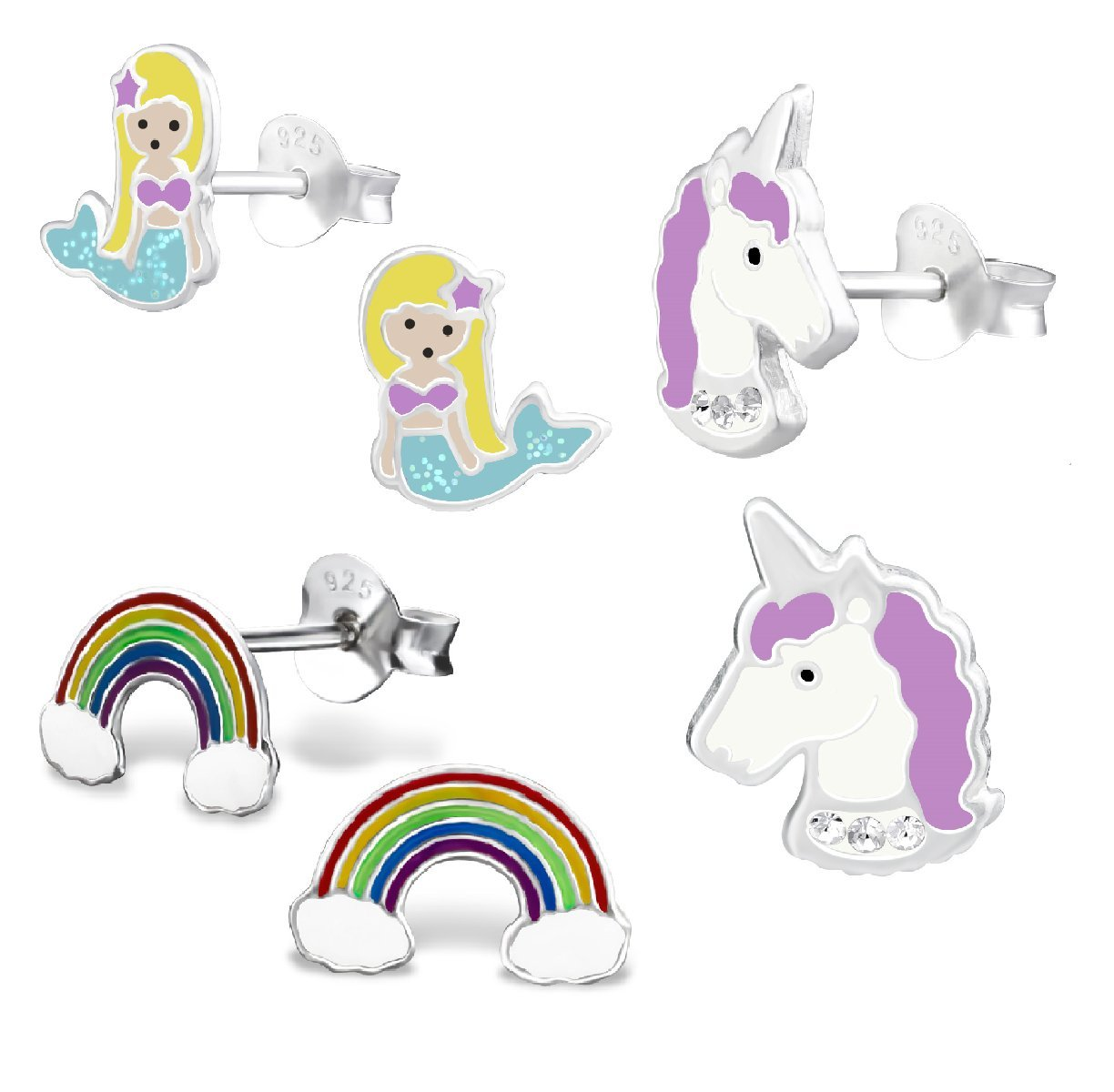 925 Sterling Silver Hypoallergenic Set of 3 Pairs Mermaid, Purple Unicorn, & Rainbow Stud Earrings for Girls (Nickel Free)