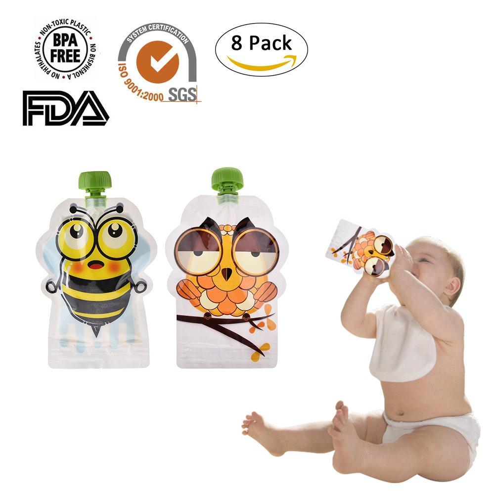 iBellete Poche alimentaire r/éutilisable sans BPA double fermeture /à glissi/ère paquet de 8