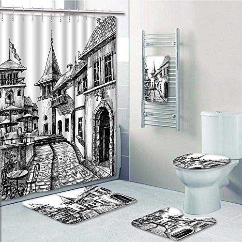 Designer Bath Polyester 5 Piece Bathroom Set Peaceful City Drawing Restaurant Terrace Sketch Downtown