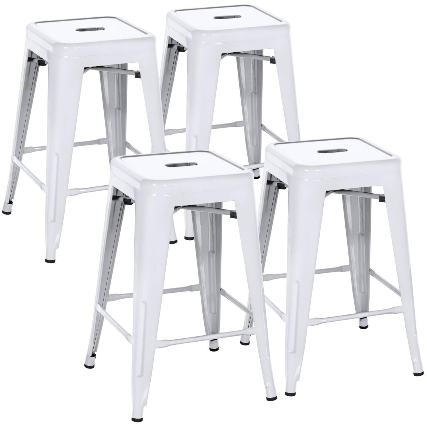 Amazoncom White Bar Stools 24 Inch Backless Counter Stools Set Of