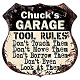 CHUCK'S GARAGE TOOL RULES Rustic Chic Sign Vintage Retro 11.5'x 11.5' Shield Metal Plate Store Home man cave Decor Funny Gift