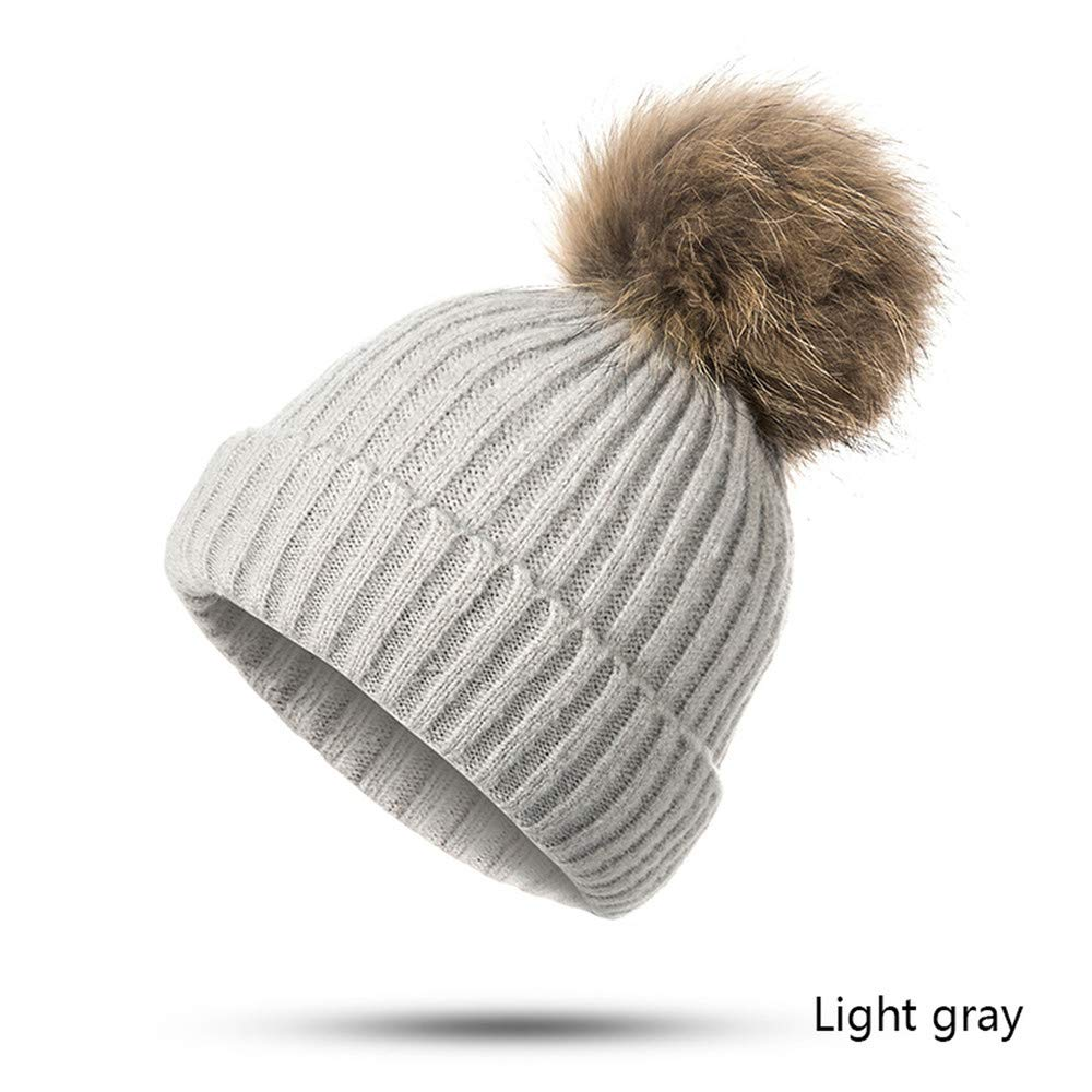EIWOLCN Winter Women Hat Winter Hat for Female Girl s Hat Knitted Cap Hat Thick Warm Solid Color