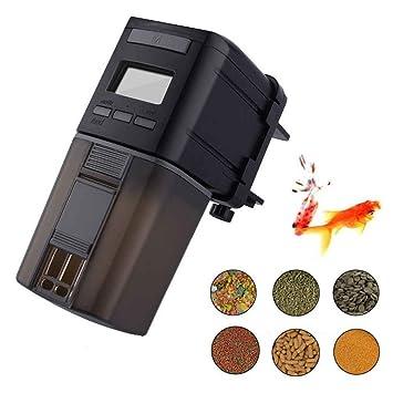 Kongnijiwa Alimentador Alimentador automático de Pescado Acuario Mini dispensador automático de Comida de Pescados Temporizador automático de Salida ...