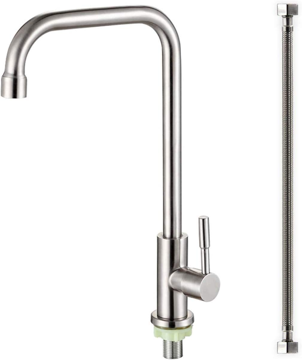 ORLEIMI Cold Only Water Kitchen Faucet Commercial Bar Tap Single Lever Handle 304 Stainless Steel Brushed Nickel Decked Mounted Single Hole Modern