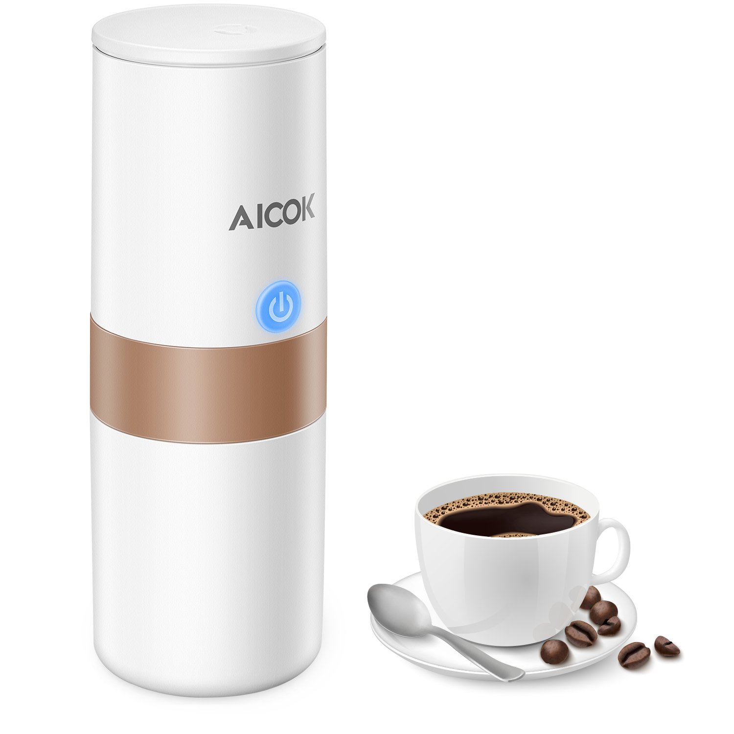 Aicok Portable Coffee Maker, Mini Electric Coffee Machine with Reusable Coffee Filter (Ground Coffee & Amercian Coffee Capsule Compatible), Quick Coffee Machine for Travel, Home, Office, 150ML