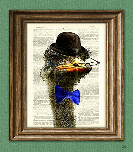Dandy Ostrich with bowler hat and spiffy bow tie illustration beautifully upcycled dictionary page book art ()