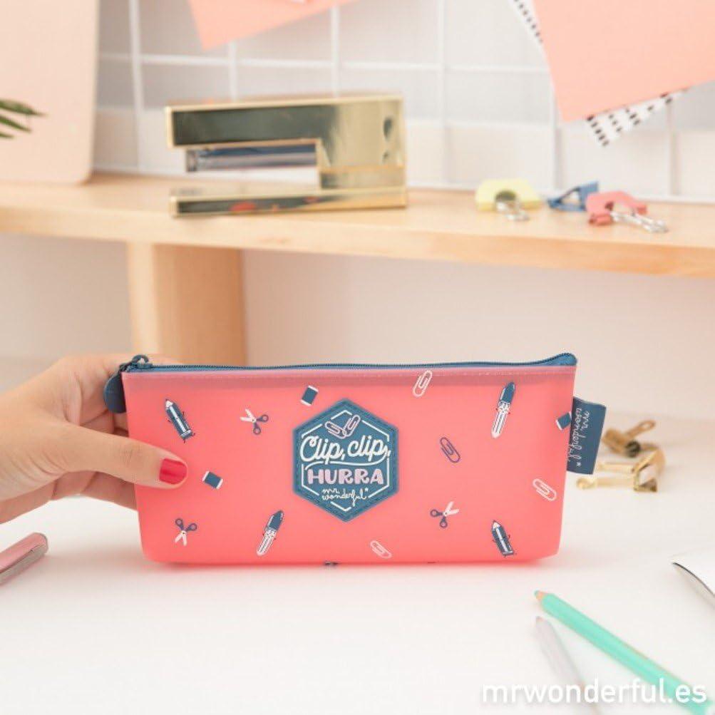 Mr. Wonderful 3628729031 - Estuche, diseño Clip, clip, hurra, 20 x 8 x 4 cm, color rosa: Amazon.es: Oficina y papelería