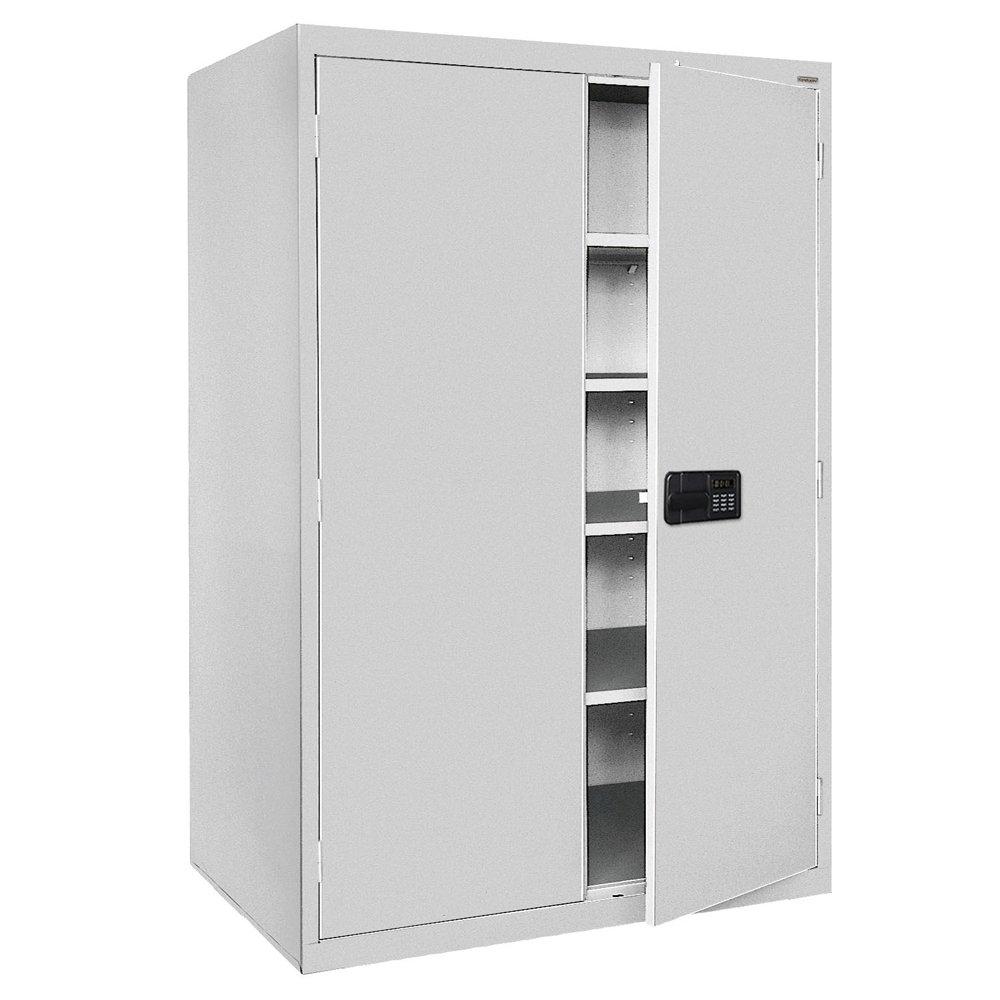 Sandusky Lee EA4E462472-05 Elite Series Keyless Electronic Welded Storage Cabinet 46 Width x 24 Length x 72 Height Dove Gray