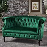 Melaina Emerald Velvet Loveseat - Tufted Rolled Arm Velvet Chesterfield Loveseat Couch