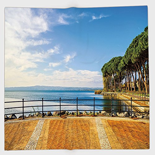 Cotton Microfiber Hand Towel,Italian Decor,Terrace Promenade Balcony and Pine Trees in Bolsena Lake Italy,Blue and Light Brown,for Kids, Teens, and Adults,One Side ()
