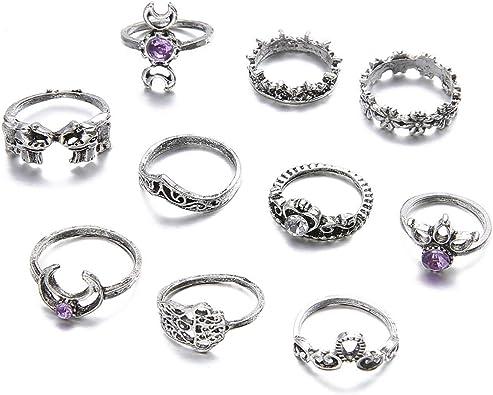 Amazon.com: Gudukt Juego de anillos de nudillos de plata ...