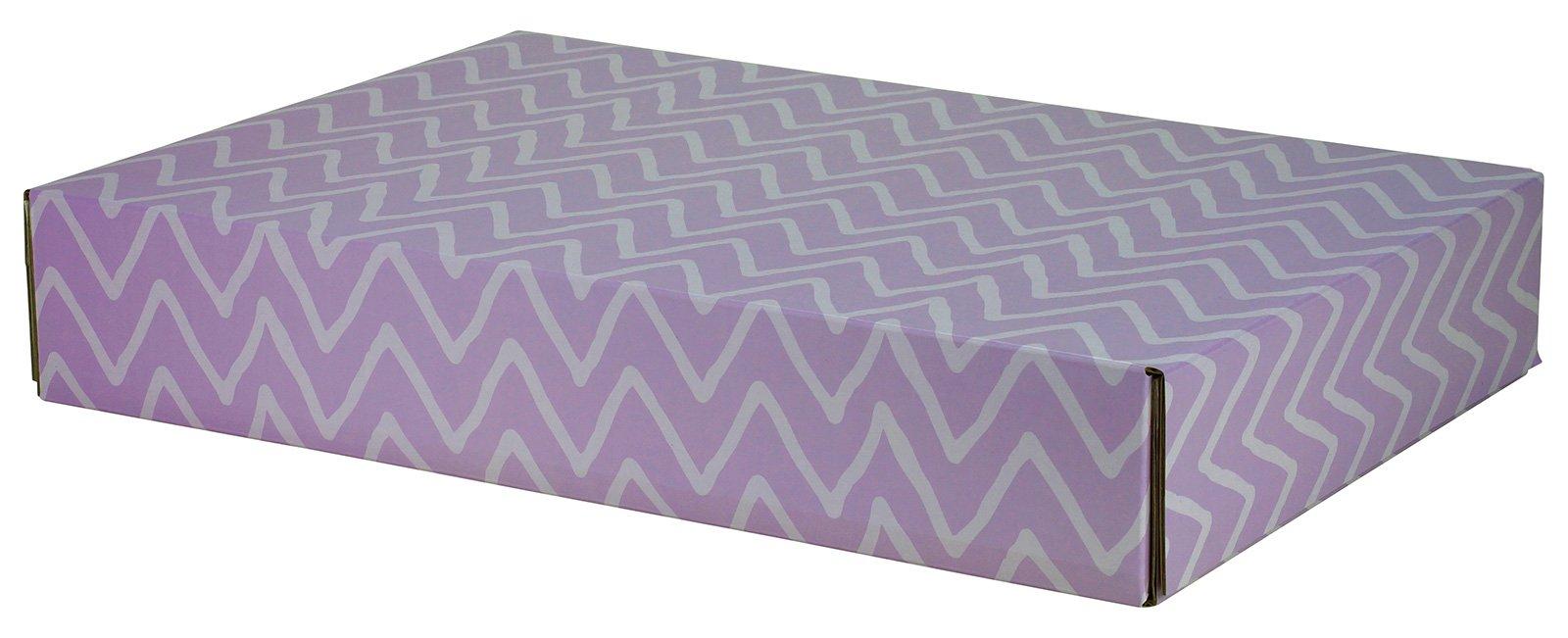 Gift Shipping Box, Classic Line, Purple Zig Zag (Large Size - 48 Pack)