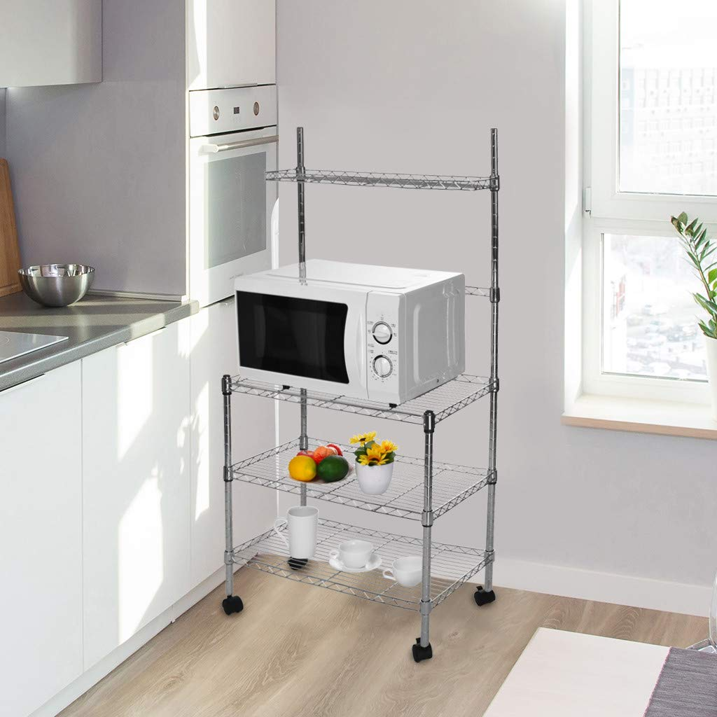 Hisoul Hot  3-Layer Microwave Rack Easy to Move Kitchen Cart Microwave Stand Storage Rack with Four-Wheel Storage Rack with Spice Rack - Silver - 23.62''x13.78''x47.24'' - Shipped from USA (Silver) by Hisoul (Image #8)