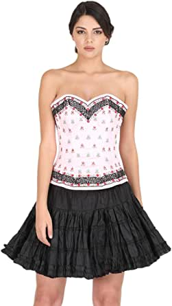 Pink Satin Corset Black Sequin Threadwork Costume for Halloween Bustier Overbust