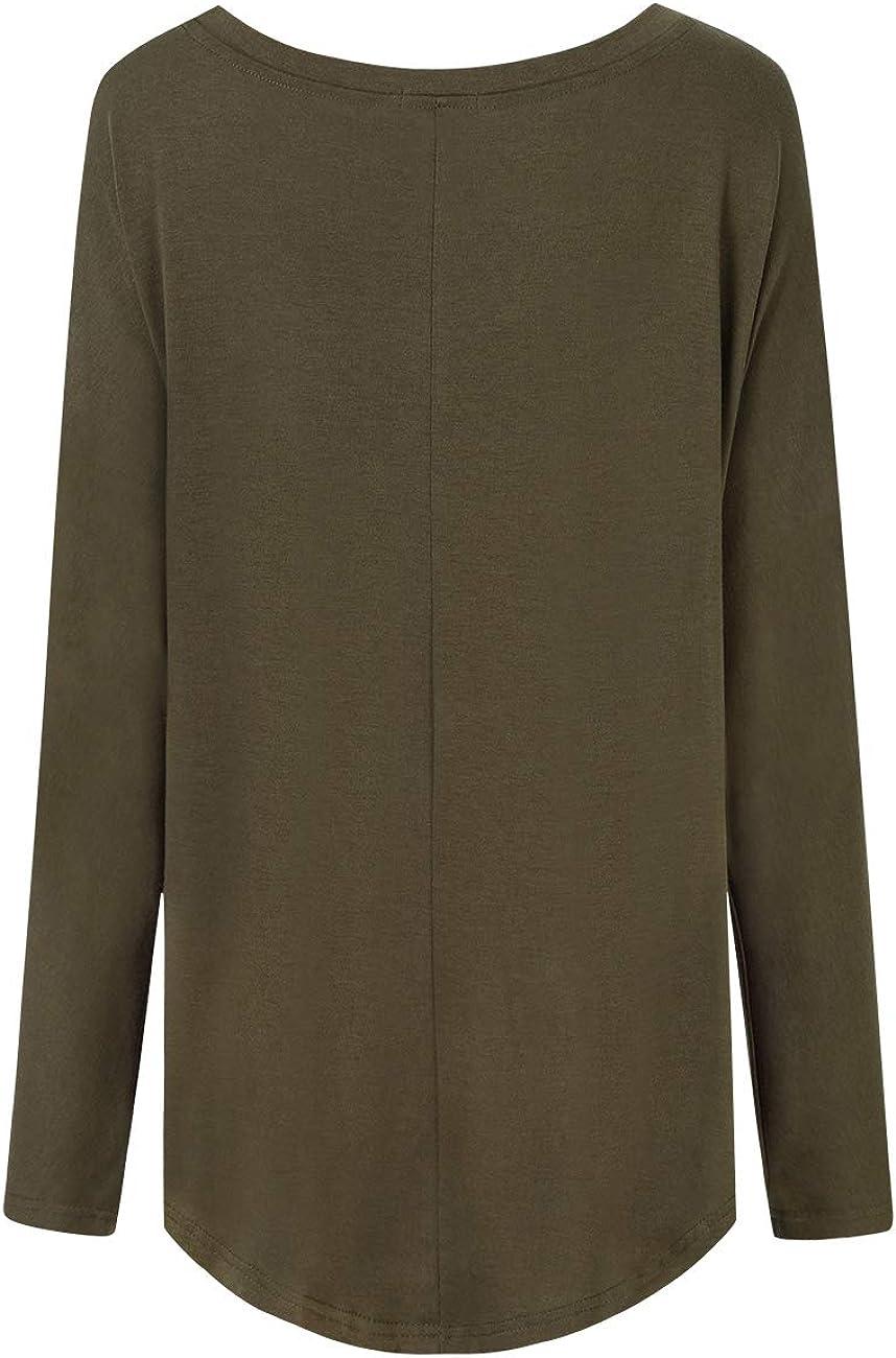 Verpackung MEHRWEG Clearlove Oversize Langarm Shirt Damen Oversize Oberteile Tunika Lose Bluse Asymmetrisch Sweatshirt