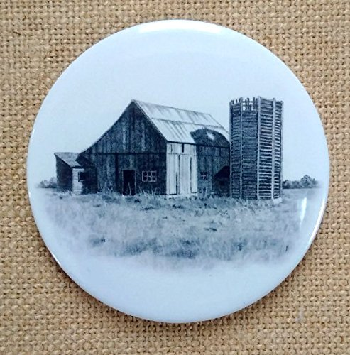 Fridge Magnet: 3.5', Old Barn and Wooden Silo, Pencil Drawing, Rustic, Country