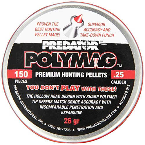 Polymag Predator Polymag Air Gun Pellets (Gray/red, .25 Caliber)