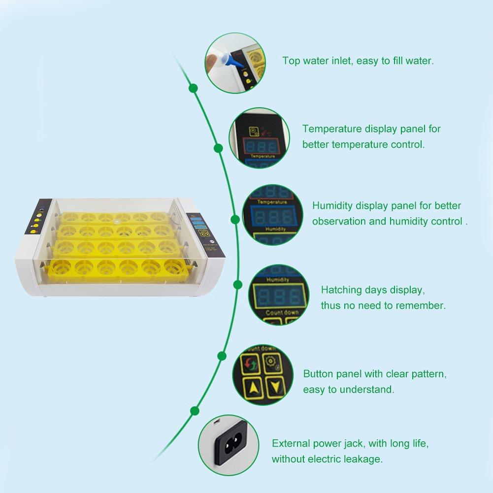 Per Piccolo automatica uovo della Nidiata vibrazione vibrazione vibrazione di Hatcher digitale con uovo di rotazione del sensore di umidità di temperatura Monitor 24 Uova per huehnerenten di uova di uccelli e0d847